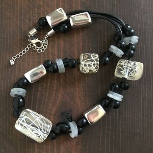 Black Silver with white accent chunky necklace